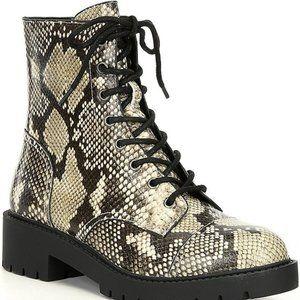 Chelsea & Violet War Snake Print Combat Block Heel